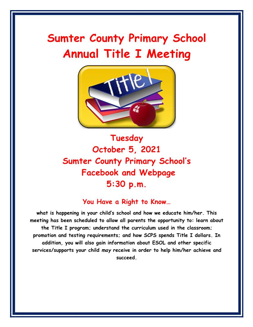 Annual Title I Meeting  2021