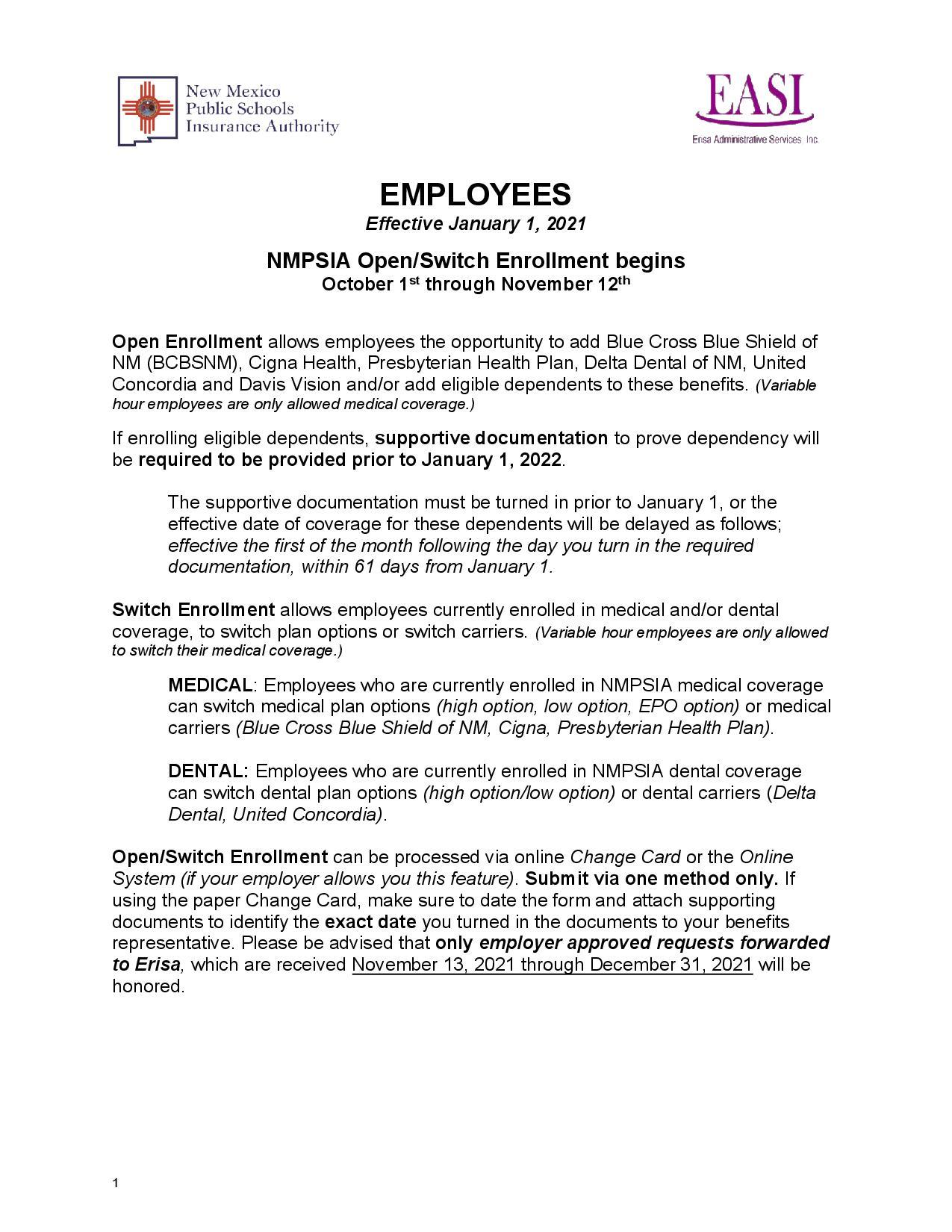 Open enrollment plan