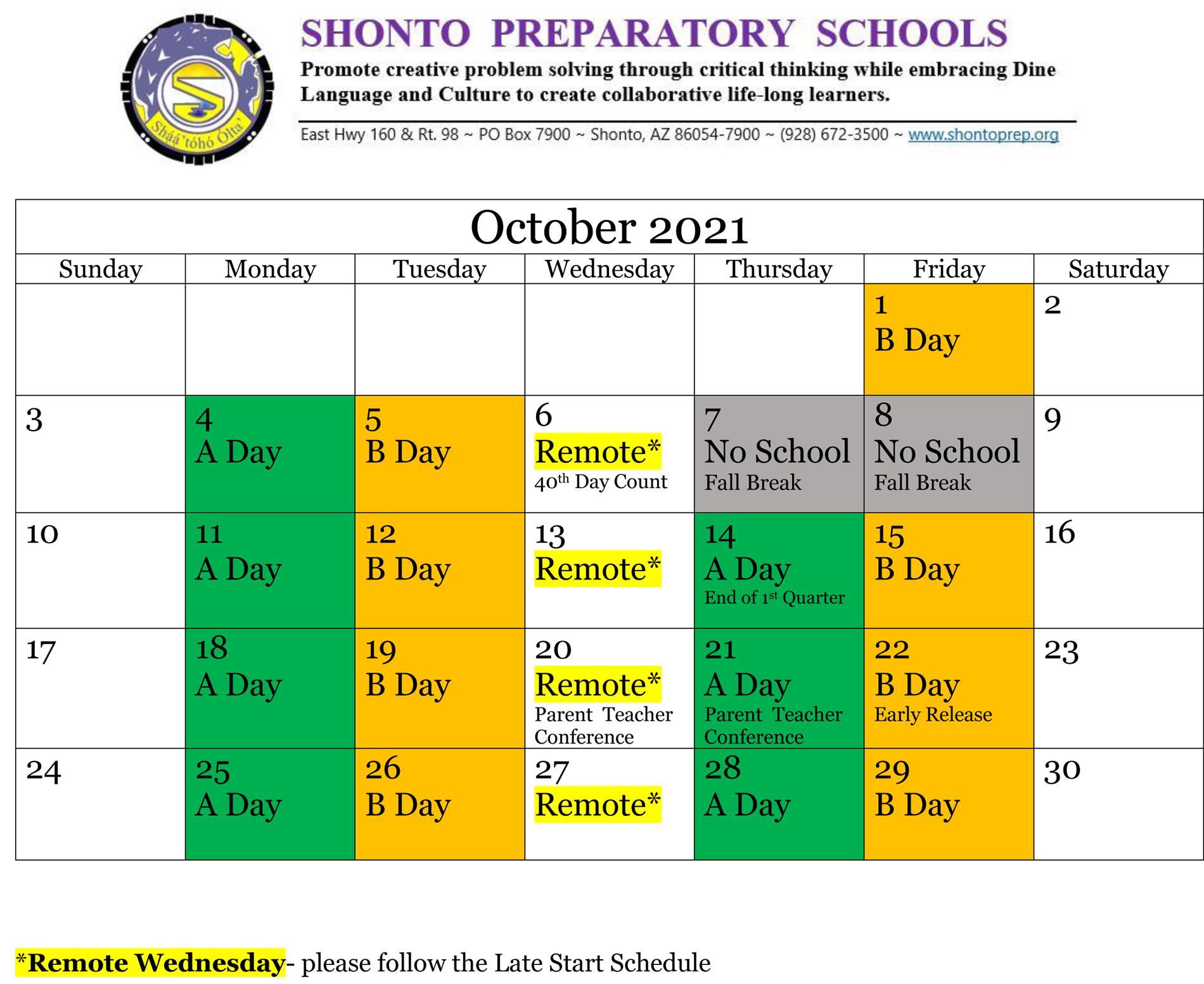oct schedule