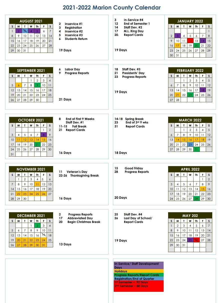 2021.2022 District Calendar