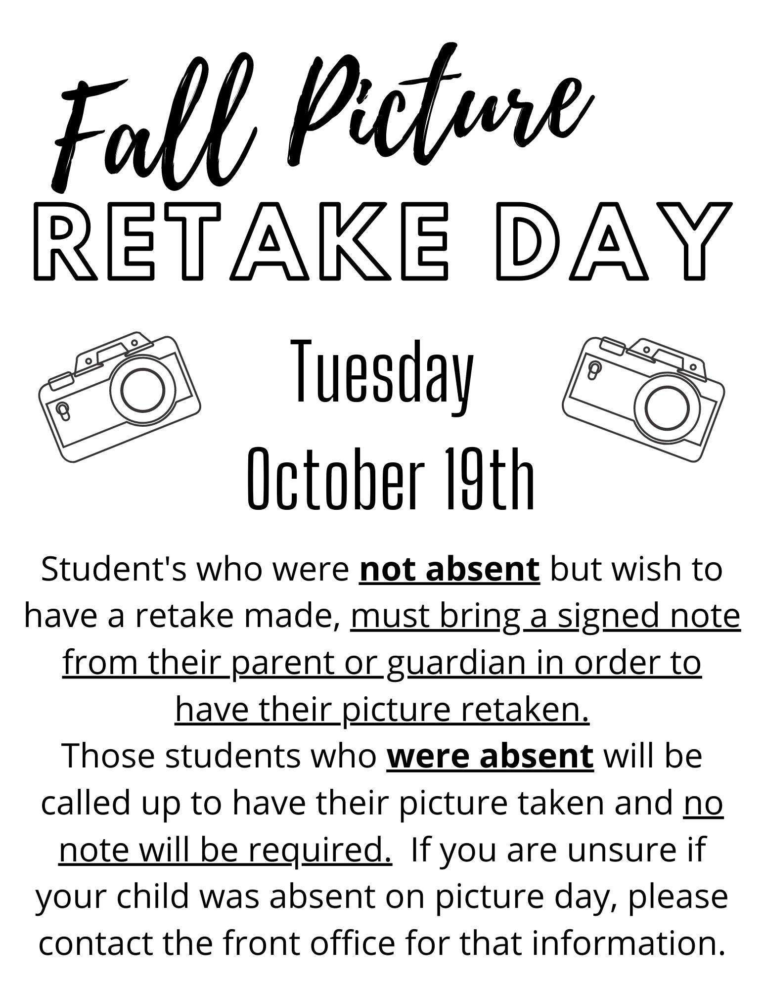 Fall Picture Retakes