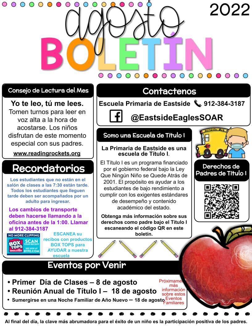 August Newsletter Spanish