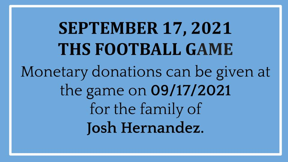 Donations at THS Football Game 09/17/2021
