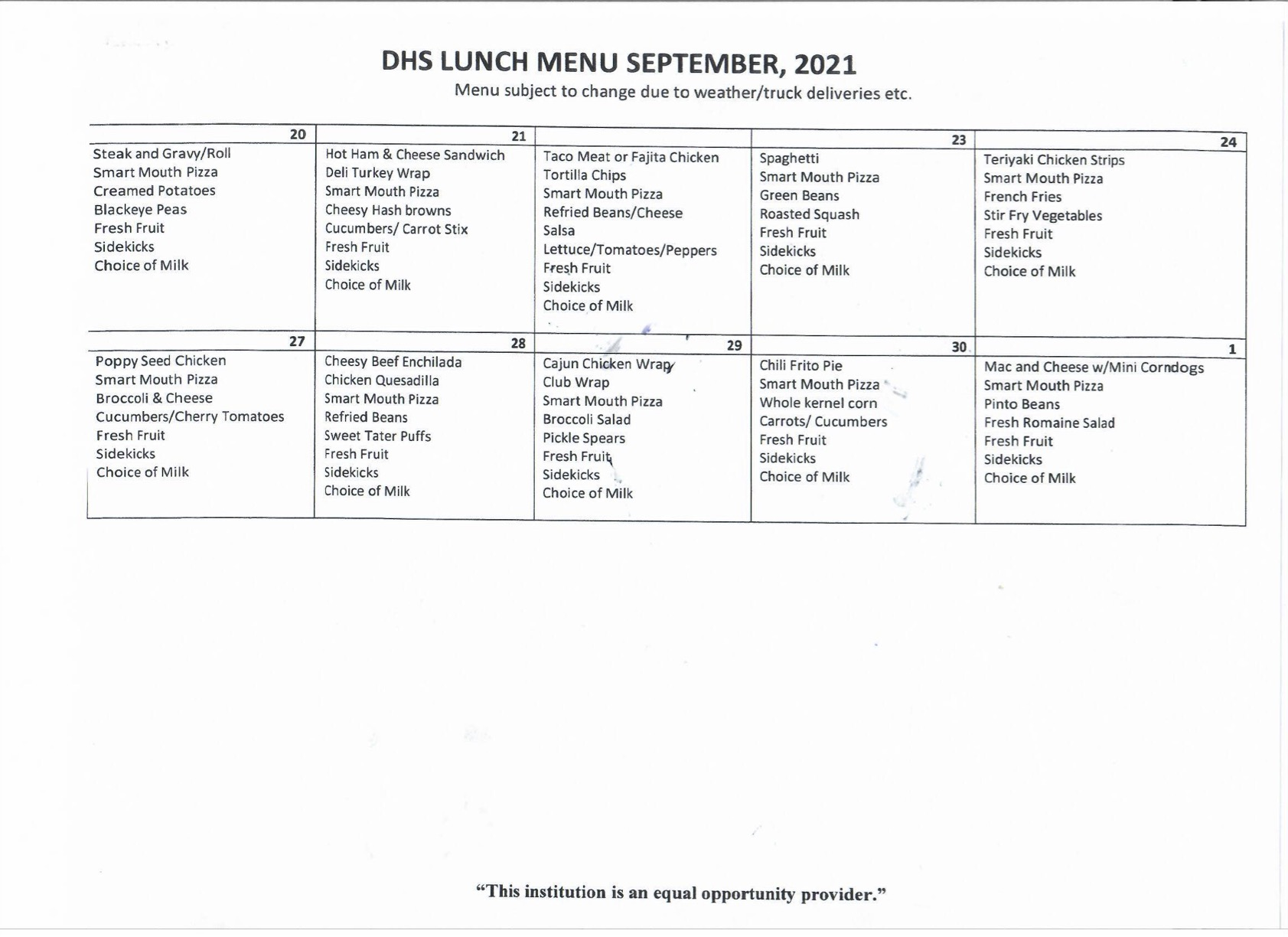 DHS Lunch Menu Page 2