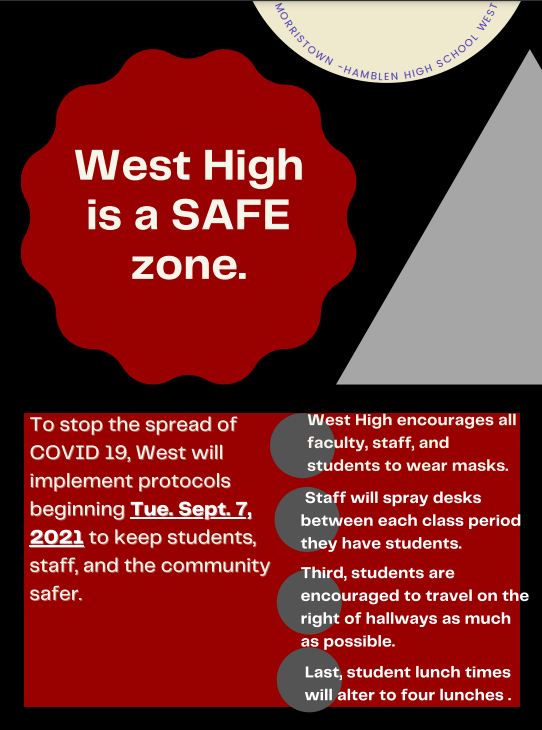 Students and staff encouraged to wear masks.  Walk on right of hallways.  4 lunches offered.