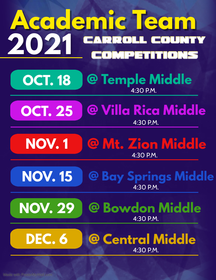 Academic team competition dates flyer