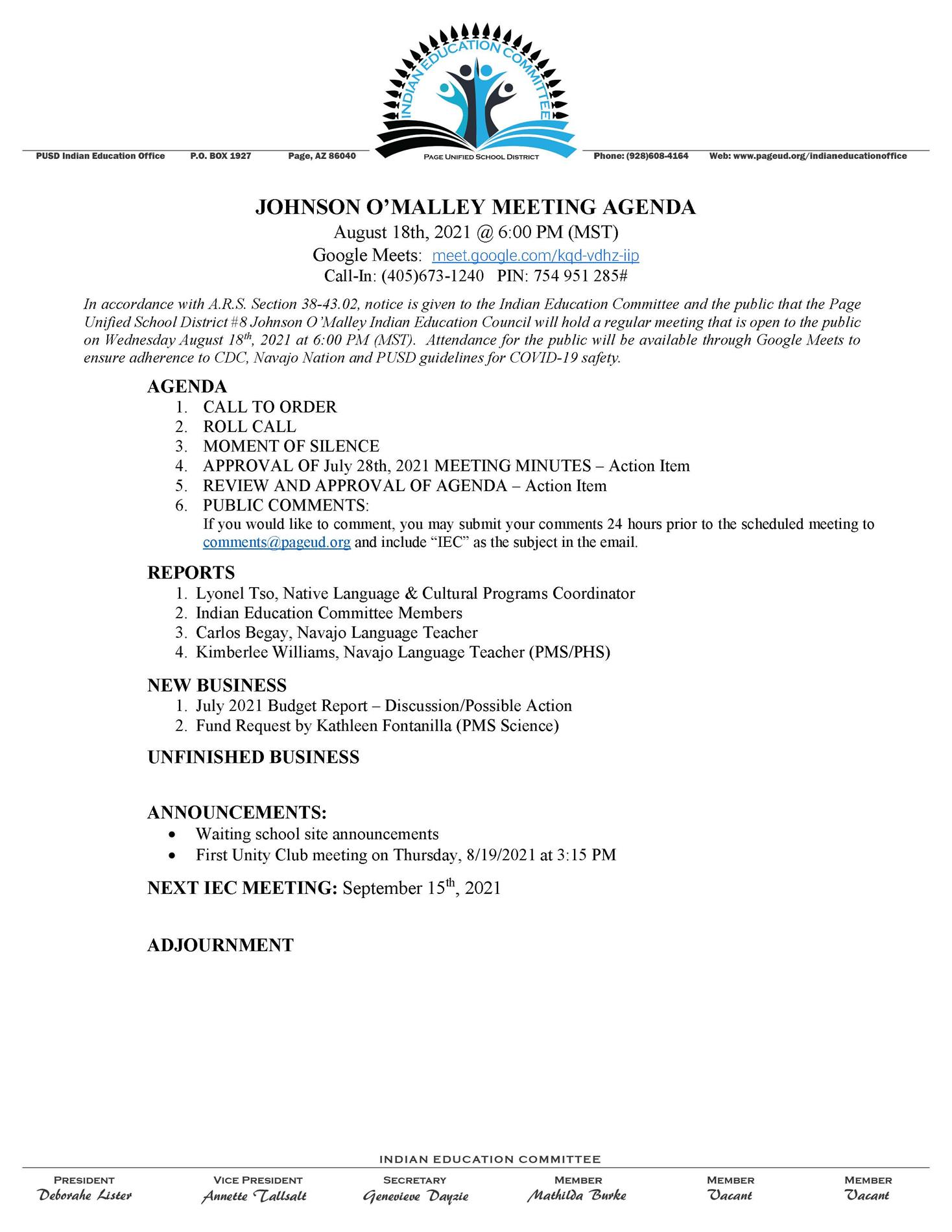 August IEC Meeting Agenda