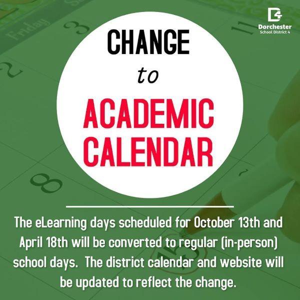 Academic Calendar Change