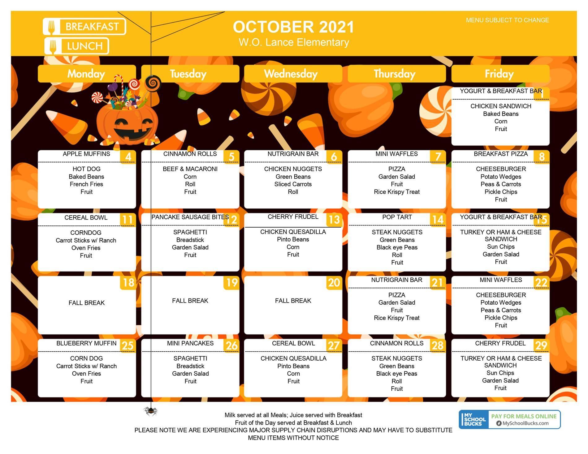 October 21 Menu K-6