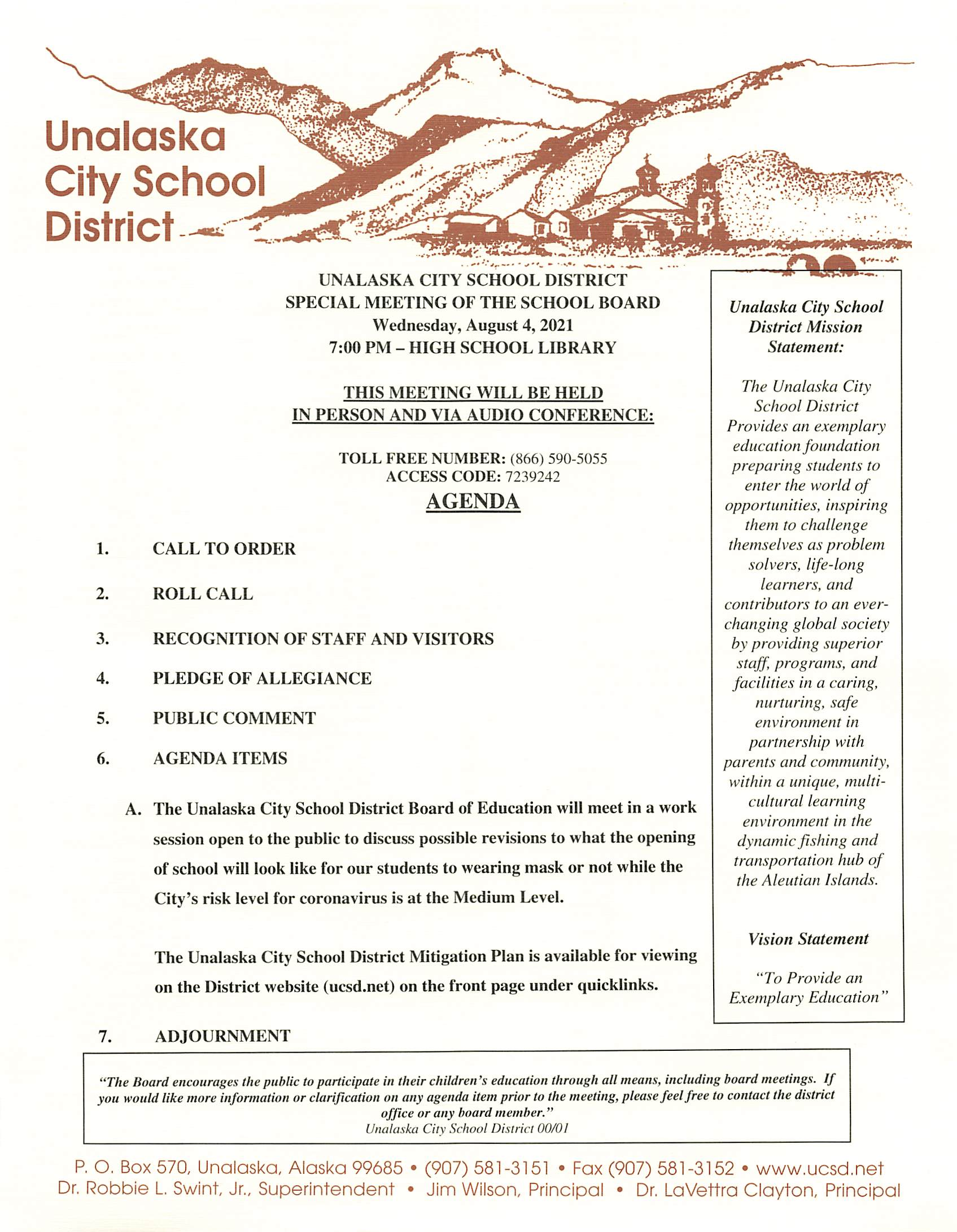 08/04/2021 Special School Board Meeting Agenda