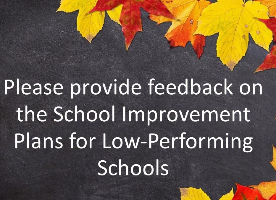 Feedback on School Improvement plans for low performing schools
