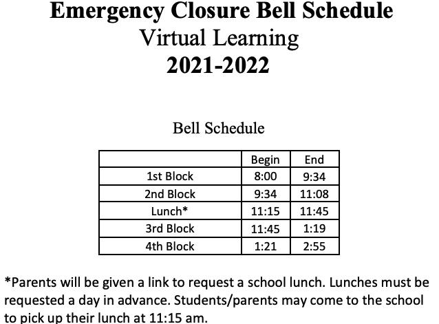 Virtual School Bell Schedule